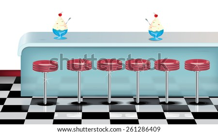 Diner Restaurant Bar Chairs Check Floor Stock Illustration