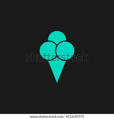 Ice cream Flat icon on black background. Simple symbol - stock photo