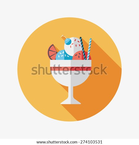 ice cream flat icon with long shadow - stock photo