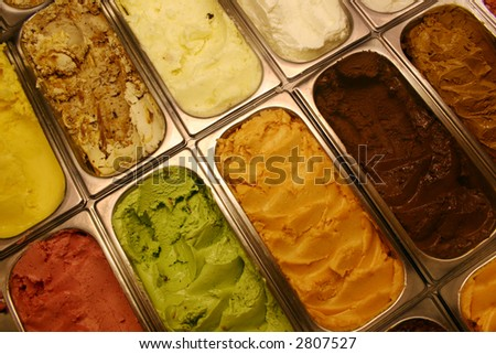 Ice cream flavors at the ice cream parlor. - stock photo