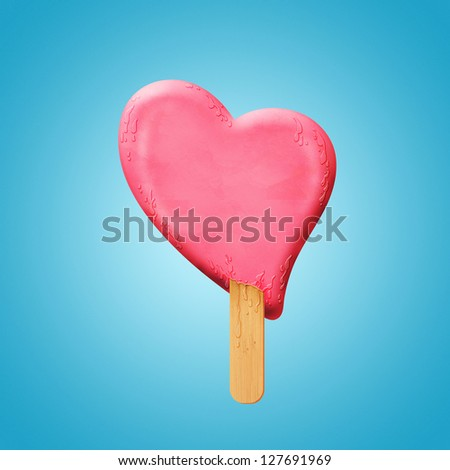 Ice cream heart on a stick melting, lovers in danger concept, Valentine concept - stock photo