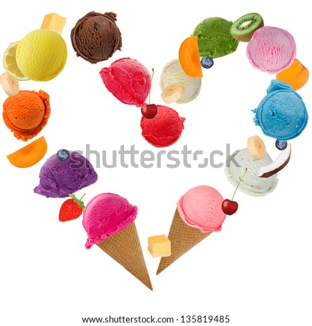 Ice cream heart over white background - stock photo