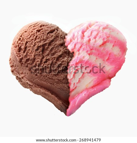 Ice cream heart shape. - stock photo