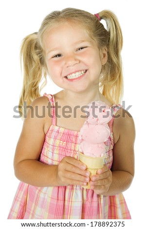 Ice Cream: Holding a Strawberry Ice Cream Cone - stock photo