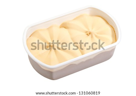 ice cream in box isolated on white background - stock photo