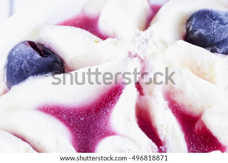 Ice cream in close up, horizontal image