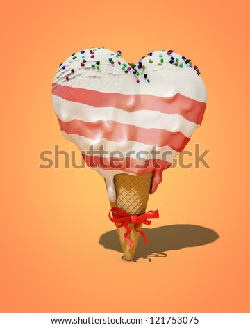 ice cream in the shape of heart - stock photo