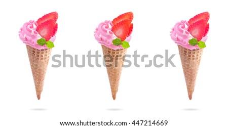 Ice cream in waffle cone with strawberry isolated on the white background.