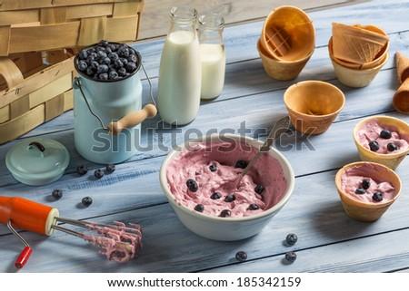 Ice cream made �¢??�¢??with mixed yogurt and blueberries - stock photo
