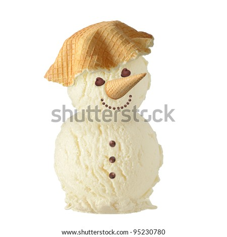 ice-cream man on white background - stock photo