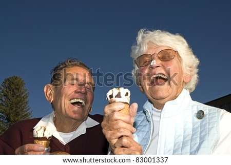 Ice cream on your nose, funny - stock photo