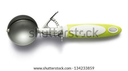 Ice cream scoop isolated on white - stock photo