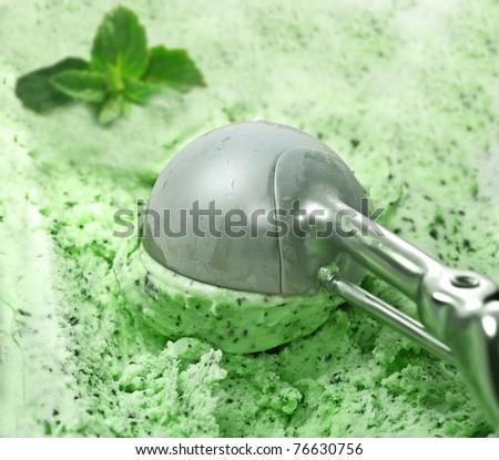 Ice Cream scoop with mint - stock photo