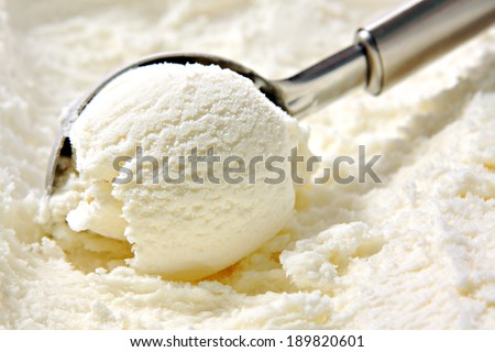 Ice cream scooped out of container