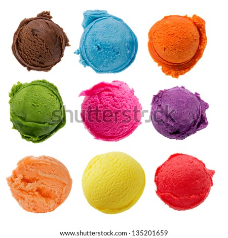 Ice cream scoops collection on white background - stock photo