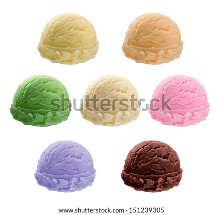Ice cream scoops collection - Realistic photo image  Variety of flavors Ice cream, milk, strawberry, apricot, orange, lemon, kiwi, chocolate, vanilla, blue berry, pine apple etc. - stock photo