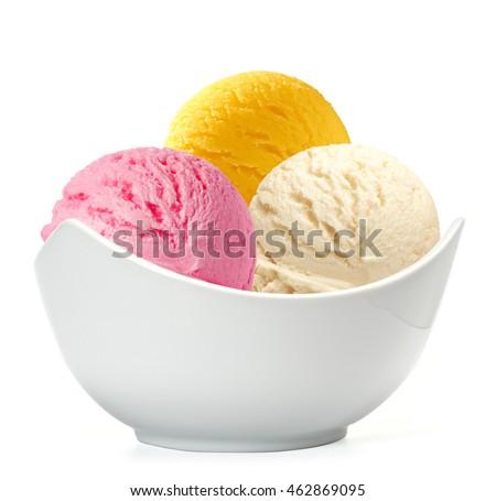 ice cream scoops in bowl on white background
