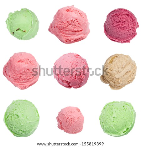 Ice cream scoops set, isolated on white background - stock photo