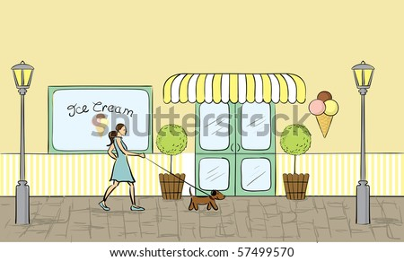Ice cream store front view.(vector also available)