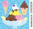 Ice Cream Sundae and ice cream cones on the blue sprinkle background - stock photo
