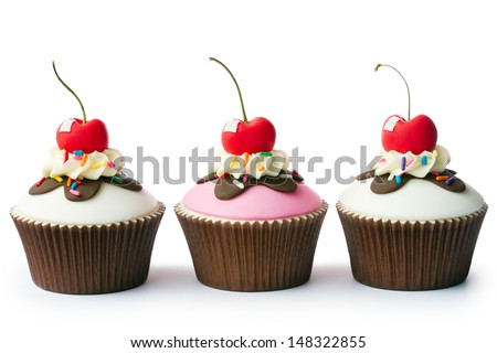 Ice cream sundae cupcakes - stock photo