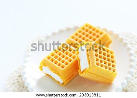 Ice cream waffle sandwich - stock photo