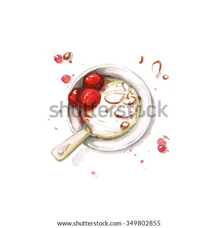 Ice Cream - Watercolor Food Collection - stock photo