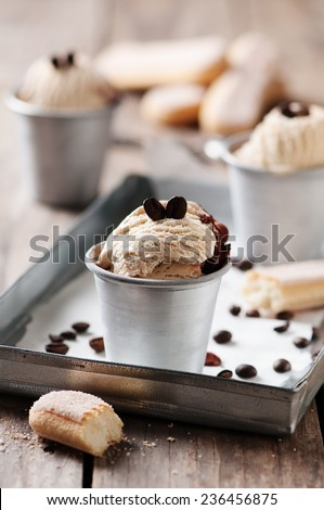 Ice cream with coffee and biscuits, selective focus - stock photo
