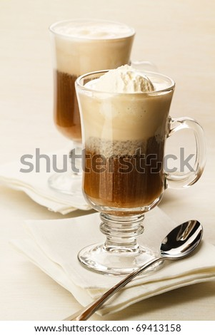 Ice-cream with coffee cocktail in glass - stock photo