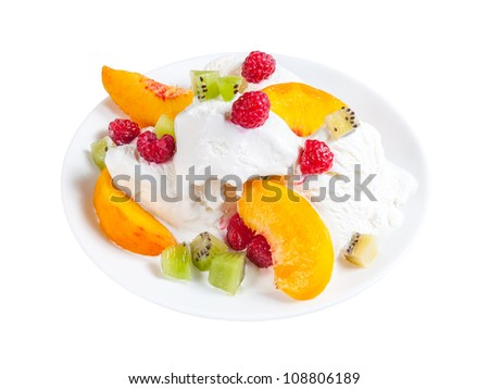 Ice cream with fruit on plate isolated on white background