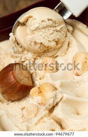 ice cream with hazelnut - stock photo