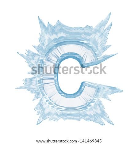 Ice crystal  font. Letter C.Upper case.With clipping path  - stock photo