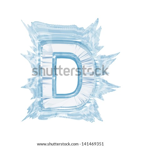 Ice crystal  font. Letter D.Upper case.With clipping path  - stock photo