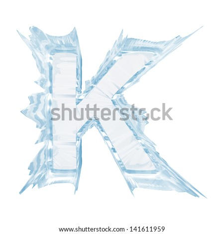Ice crystal  font. Letter K.Upper case.With clipping path  - stock photo
