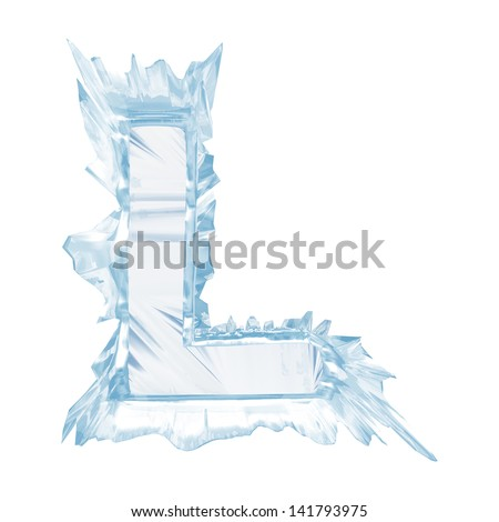 Ice crystal  font. Letter L.Upper case.With clipping path  - stock photo
