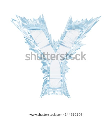 Ice crystal  font. Letter Y.Upper case.With clipping path  - stock photo