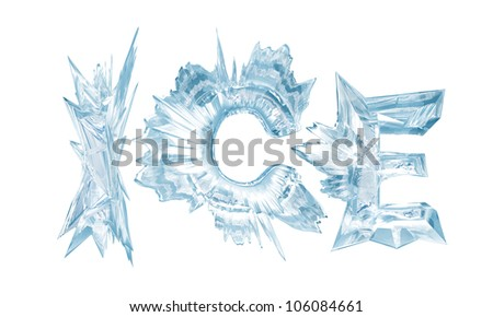 Ice crystal letters. The Word - Ice - stock photo
