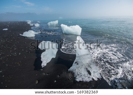 Ice Crystals at the Beach of Joekulsarlon, Iceland