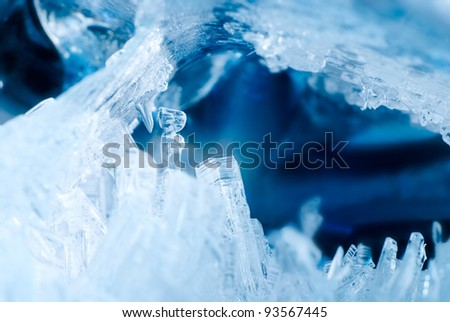 Ice crystals in a grotto - stock photo