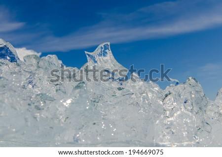 Ice crystals on the beach of Jokulsarlon Ice lagoon - stock photo