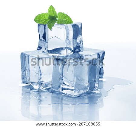 Ice cube and mint - stock photo