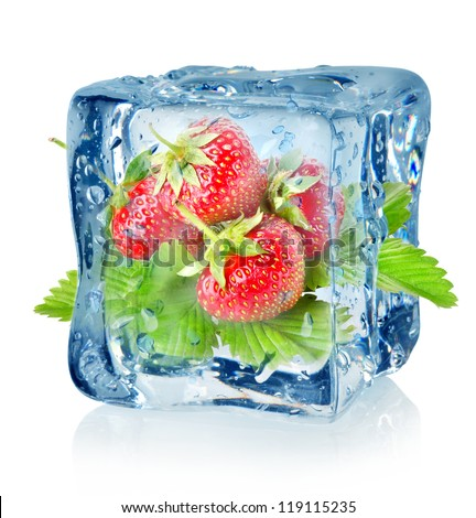 Ice cube and strawberry isolated on a white background - stock photo