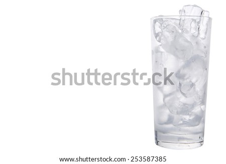 Ice cube in a glass - stock photo