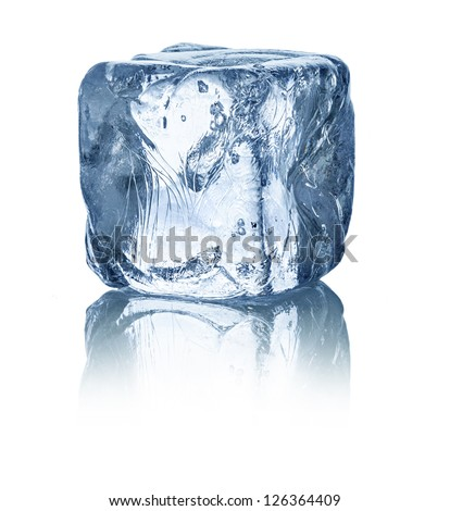 ice cube in front of white background - stock photo