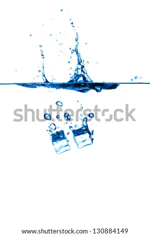 Ice cube in water on white background