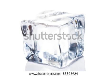 Ice cube isolate on white - stock photo