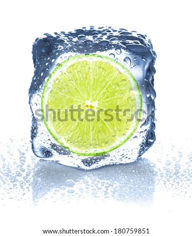 ice cube isolated and lime - stock photo