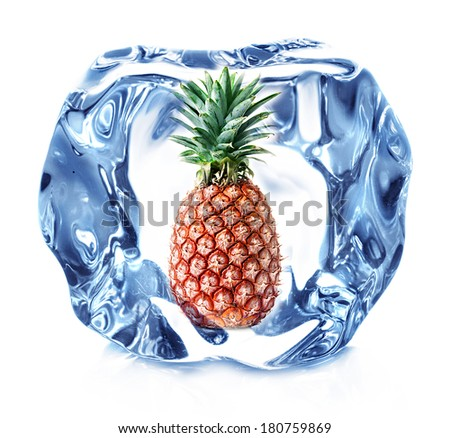 ice cube isolated and pineapple - stock photo