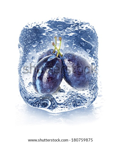 ice cube isolated and plum - stock photo