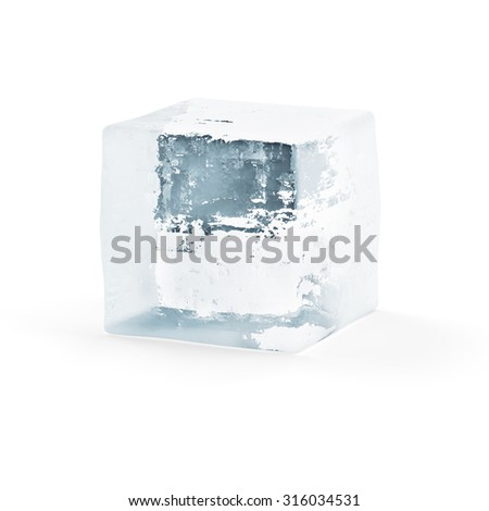 Ice Cube isolated on white background - stock photo